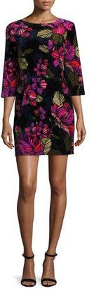 Trina Turk 3/4-Sleeve Floral Cocktail Dress, Multicolor $298 thestylecure.com