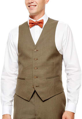 Izod Light Brown Sharkskin Suit Vest - Classic Fit