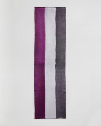 Bajra Horizontal Colorblock Scarf, Aubergine/Gray