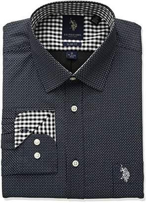 U.S. Polo Assn. Men's Slim Fit Fancy Semi Spread Collar Dress Shirt