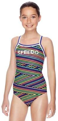 Speedo Girls Multi Lines Sierra One Piece
