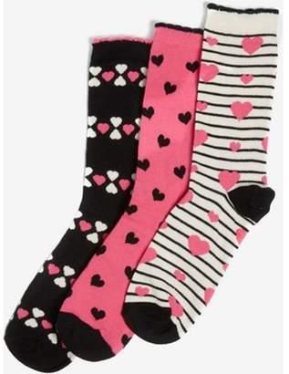 Dorothy Perkins Womens Multi Coloured 3 Pack Heart Print Ankle Socks