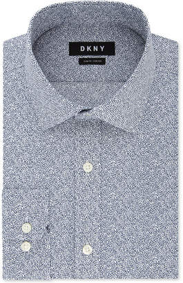 DKNY Men Slim-Fit Stretch Navy Print Dress Shirt