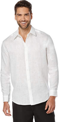 Cubavera Big & Tall 100% Linen Long Sleeve Panel with Embroidery Shirt