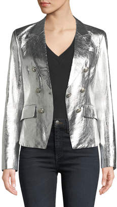 Veronica Beard Cooke Single-Button Metallic Leather Blazer