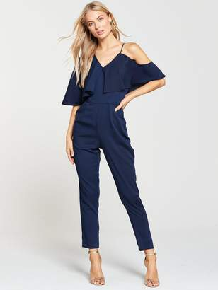 Lavish Alice Asymmetric Off The Shoulder Tapered Jumpsuit - Navy