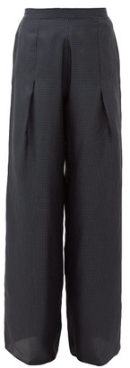 Giuliva Heritage Collection The Amanda Polka Dot Print Silk Trousers - Womens - Navy Multi