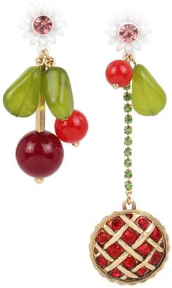 Betsey Johnson Picnic Goldtone Crystal Cherry Pie Mismatch Earrings
