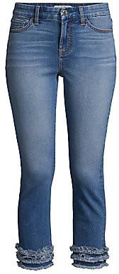 7 For All Mankind Jen7 by Women's Cropped Straight-Leg Tiered Ruffle-Hem Jeans