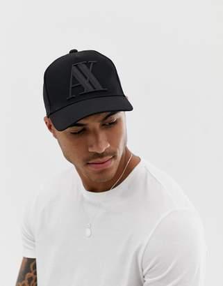 4c3b101bfaf Armani Exchange large logo baseball cap in black
