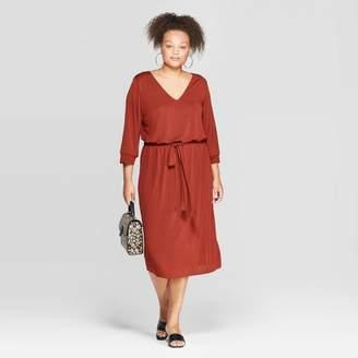 Ava & Viv Women's Plus Size 3/4 Sleeve V-Neck Sandwash Knit Midi Dress - Ava & VivTM