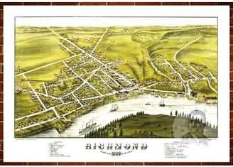 "Richmond Ted's Vintage Art Map of Richmond, ME 1878; Old Maine Decor 18"" x 24"""