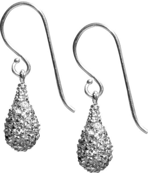 Pavé teardrop earring - Silver