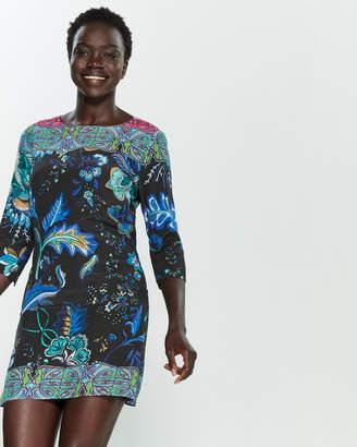 Desigual Killpop Printed Three-Quarter Sleeve Mini Dress