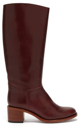 A.P.C. Iris Leather Knee High Boots - Womens - Burgundy