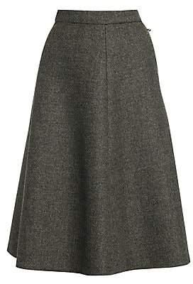 Miu Miu Women's Birdseye Tweed Wool A-Line Skirt