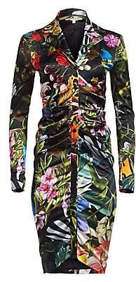 Roberto Cavalli Women's Tropical Print Ruched Shirtdress