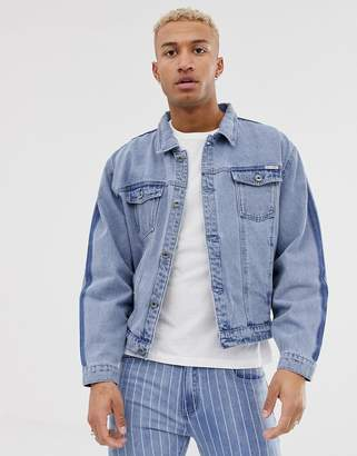N. Liquor Poker denim jacket in stonewash with fade