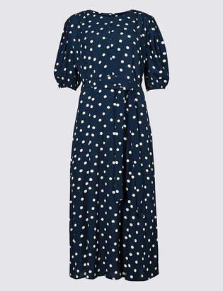 Marks and Spencer Spotted Half Sleeve Tea Midi Dress