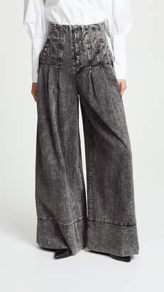 Sea Noir Denim High Waisted Corset Pants