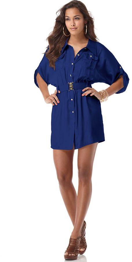 Luxirie Dress, Satin Studded Pocket Shirt Dress
