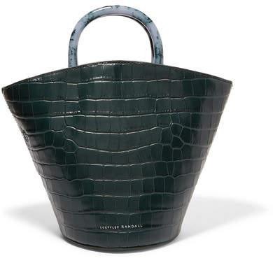 Loeffler Randall - Agnes Fan Croc-effect Leather Tote - Emerald