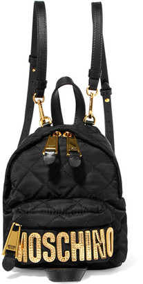 Moschino - Leather-trimmed Quilted Shell Backpack - Black $450 thestylecure.com