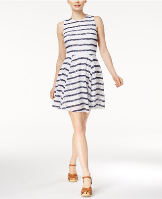 Maison Jules Striped Lace Fit & Flare Dress, Created for Macy's $79.50 thestylecure.com