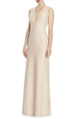 Women's Lela Rose Bridesmaid V-Neck Lace A-Line Gown $220 thestylecure.com
