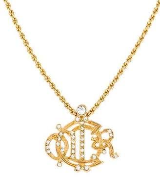 Christian Dior Crystal Logo Pendant Necklace