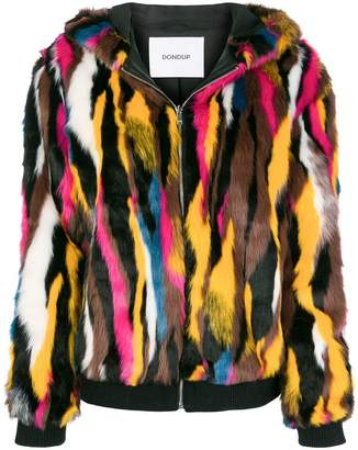 Dondup zipped faux fur hooded jacket