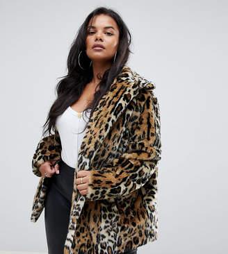 874b7068abb Asos DESIGN Curve animal faux fur coat