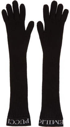Emilio Pucci Black Ribbed Wool Gloves