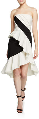 Marchesa Colorblocked Strapless High-Low Cocktail Dress