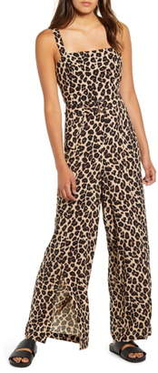 Band of Gypsies Leopard Print Belted Wide Leg Jumpsuit