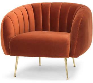 One Kings Lane Sepli Channeled Chair - Rust Velvet