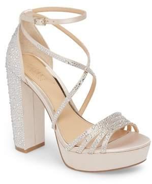 Badgley Mischka Tarah Crystal Embellished Platform Sandal