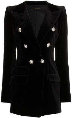 Alexandre Vauthier crystal button double breasted cotton jacket