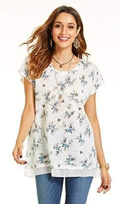 SONJA BETRO Women's Printed Knit Chiffon Hem Tunic Plus Size