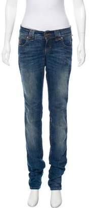 John Galliano Distressed Mid-Rise Skinny Jeans