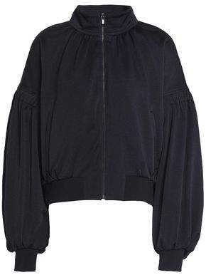 Tibi Gathered Crepe De Chine Bomber Jacket