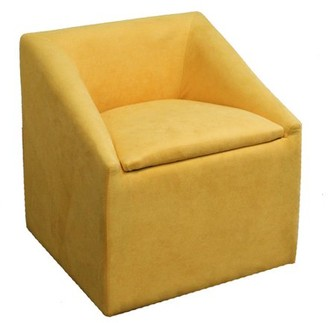 """Ore International 20.75"""" Yellow Accent Chair with Storage"""