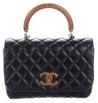 Chanel 2018 Knock On Wood Leather Quilted Top Handle Bag w/ Tags Black 2018 Knock On Wood Leather Quilted Top Handle Bag w/ Tags