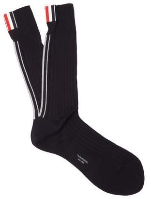 Thom Browne Striped Cotton Socks - Mens - Navy