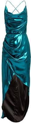 Haney Cowl Neck Metallic Blue Dress