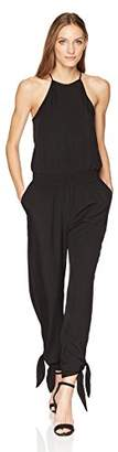 Halston Women's Sleeveless High Neck Tapered Jumpsuit with Ties