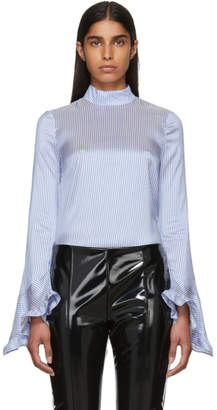 Erdem Blue and White Silk Striped Lindsay Blouse