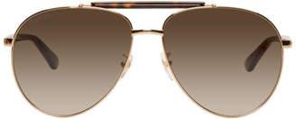Gucci Gold and Tortoiseshell Aviator Sunglasses