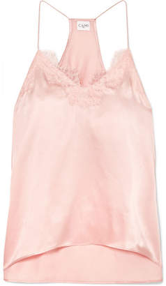 CAMI NYC The Racer Lace-trimmed Silk-charmeuse Camisole - Blush