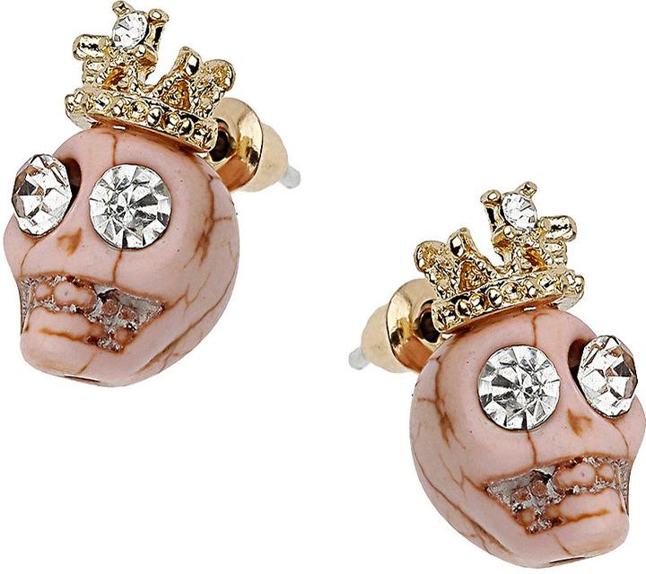 Topshop Skull Crown Stud Earrings